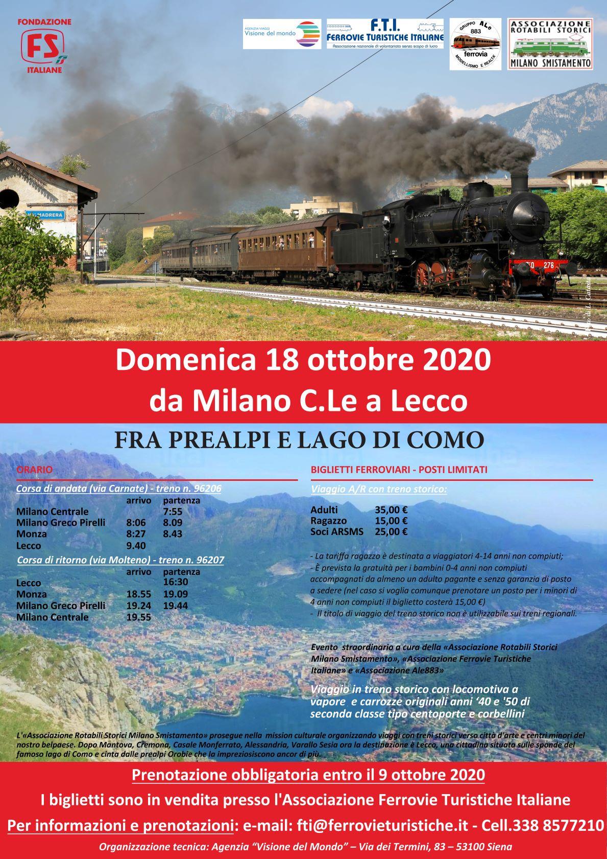 Treno storico a vapore da Milano C.le a Lecco - domenica 18 ottobre 2020