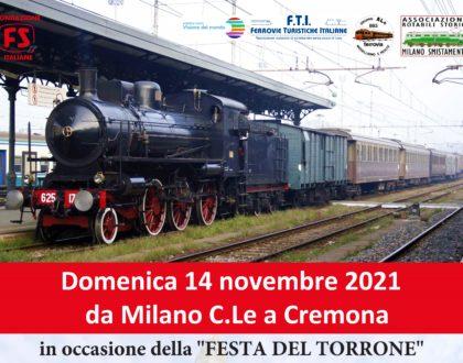 """14 novembre 2021 - Treno storico a vapore da Milano a Cremona in occasione della """"Festa del Torrone"""""""